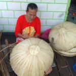 Wartaniaga.com, Banjarmasin - Memakai baju berwarna merah, wanita paruh baya yang hidup lebih dari 6 dekade sudah sangat cekatan dalam mengolah satu persatu tanggui (topi purun) dengan ragam corak dan motif.