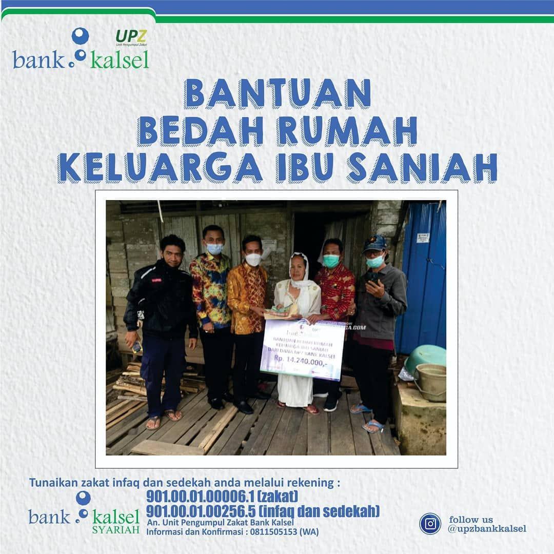 UPZ Bank Kalsel Serahkan Bantuan Bedah Rumah