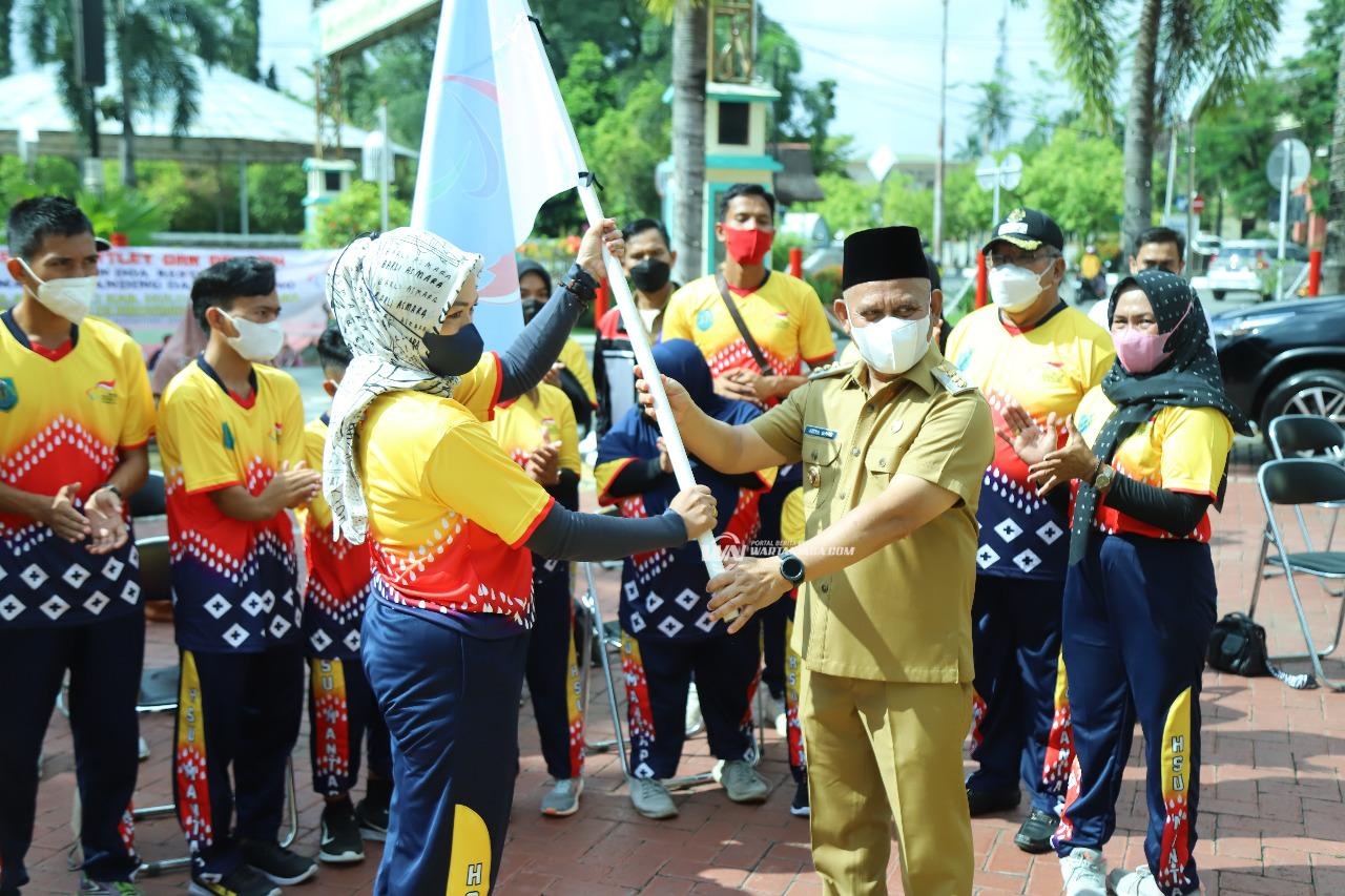 Bupati HSU Lepas Atlet dan Pelatih NPCI ke Papua